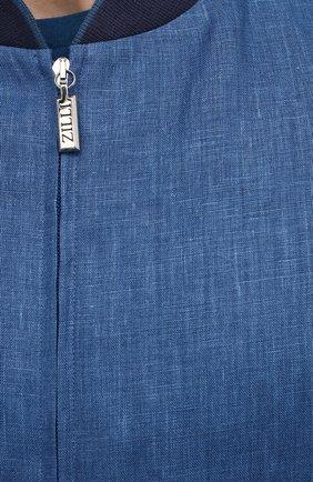 Мужской льняной бомбер ZILLI синего цвета, арт. MFV-17093-6018/0012   Фото 5