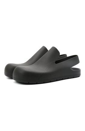 Мужские резиновые сандалии puddle BOTTEGA VENETA черного цвета, арт. 658767/V00P0 | Фото 1 (Материал внешний: Резина)
