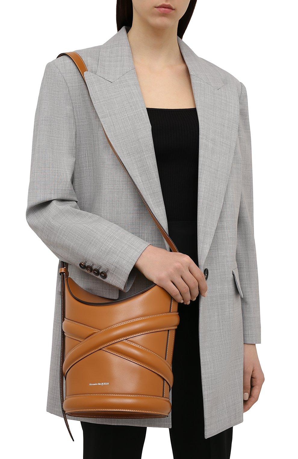 Женская сумка curve ALEXANDER MCQUEEN светло-коричневого цвета, арт. 656468/1YB40 | Фото 2