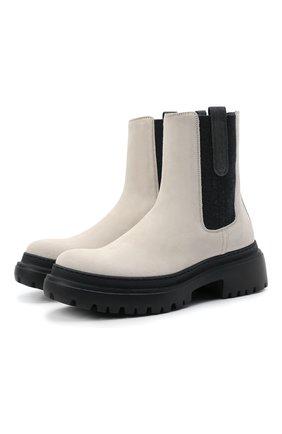 Женские замшевые ботинки BRUNELLO CUCINELLI серого цвета, арт. MZSFG2008P | Фото 1 (Подошва: Платформа; Каблук высота: Низкий; Материал внутренний: Натуральная кожа; Женское Кросс-КТ: Челси-ботинки)