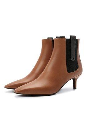 Женские кожаные ботильоны BRUNELLO CUCINELLI коричневого цвета, арт. MZSLC2014P | Фото 1 (Каблук высота: Средний; Подошва: Плоская; Каблук тип: Шпилька; Материал внутренний: Натуральная кожа)