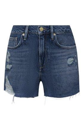 Женские джинсовые шорты FRAME DENIM синего цвета, арт. LBGSHRA207 | Фото 1 (Материал внешний: Хлопок, Деним; Длина Ж (юбки, платья, шорты): Мини; Женское Кросс-КТ: Шорты-одежда; Стили: Спорт-шик)
