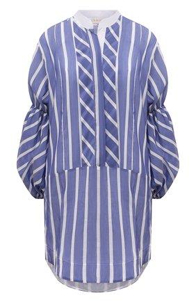 Женское платье из хлопка и шелка LILA EUGENIE синего цвета, арт. 2112 MINI | Фото 1