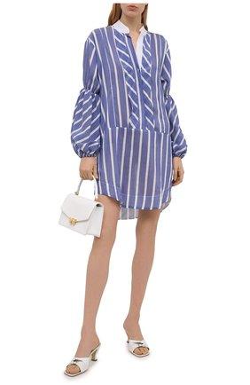 Женское платье из хлопка и шелка LILA EUGENIE синего цвета, арт. 2112 MINI | Фото 2