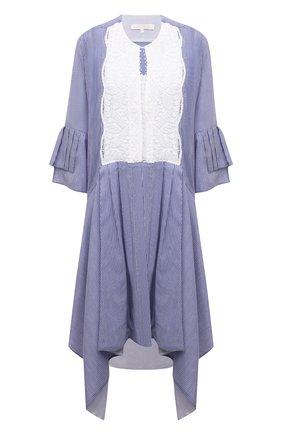 Женское платье из хлопка и шелка LILA EUGENIE голубого цвета, арт. 2114 | Фото 1