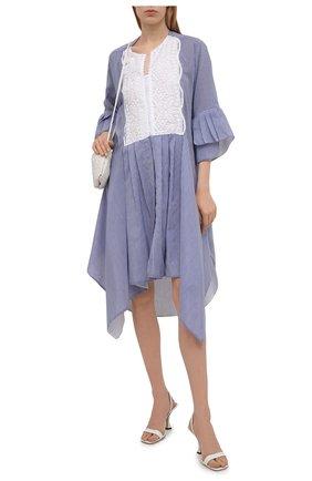 Женское платье из хлопка и шелка LILA EUGENIE голубого цвета, арт. 2114 | Фото 2