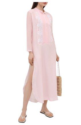 Женское платье из хлопка и шелка LILA EUGENIE розового цвета, арт. 2118 | Фото 2