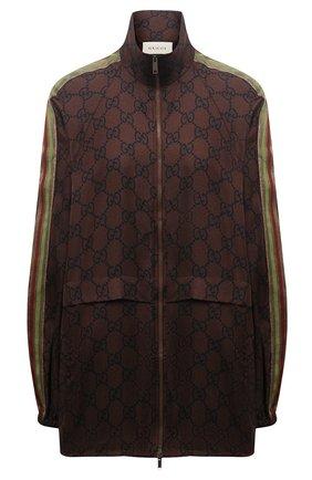 Женский шелковый кардиган GUCCI коричневого цвета, арт. 625007/XJCL5 | Фото 1 (Стили: Спорт-шик; Рукава: Длинные; Материал внешний: Шелк; Женское Кросс-КТ: Кардиган-одежда; Длина (для топов): Удлиненные)