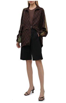 Женский шелковый кардиган GUCCI коричневого цвета, арт. 625007/XJCL5 | Фото 2 (Стили: Спорт-шик; Рукава: Длинные; Материал внешний: Шелк; Женское Кросс-КТ: Кардиган-одежда; Длина (для топов): Удлиненные)