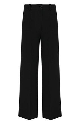 Женские брюки из шерсти и шелка VALENTINO черного цвета, арт. WB3RB4F01CF | Фото 1 (Материал внешний: Шерсть, Шелк; Женское Кросс-КТ: Брюки-одежда; Длина (брюки, джинсы): Стандартные; Стили: Кэжуэл; Силуэт Ж (брюки и джинсы): Широкие)