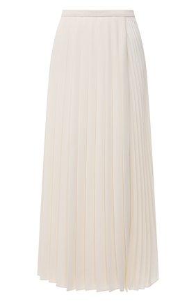 Женская плиссированная юбка VALENTINO кремвого цвета, арт. WB3RA7S667E   Фото 1 (Стили: Романтичный; Материал внешний: Синтетический материал; Женское Кросс-КТ: Юбка-одежда, юбка-плиссе; Длина Ж (юбки, платья, шорты): Миди)