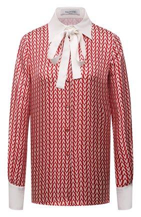 Женская шелковая рубашка VALENTINO красного цвета, арт. WB3AB2N04EK | Фото 1