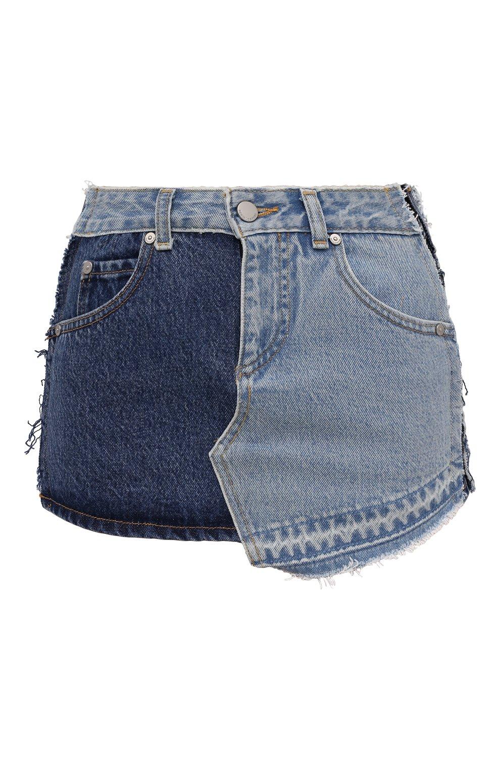 Женские джинсовые шорты REDVALENTINO синего цвета, арт. VR0DD04H/5TT   Фото 1 (Женское Кросс-КТ: Шорты-одежда; Кросс-КТ: Деним; Длина Ж (юбки, платья, шорты): Мини; Материал внешний: Хлопок; Стили: Спорт-шик)