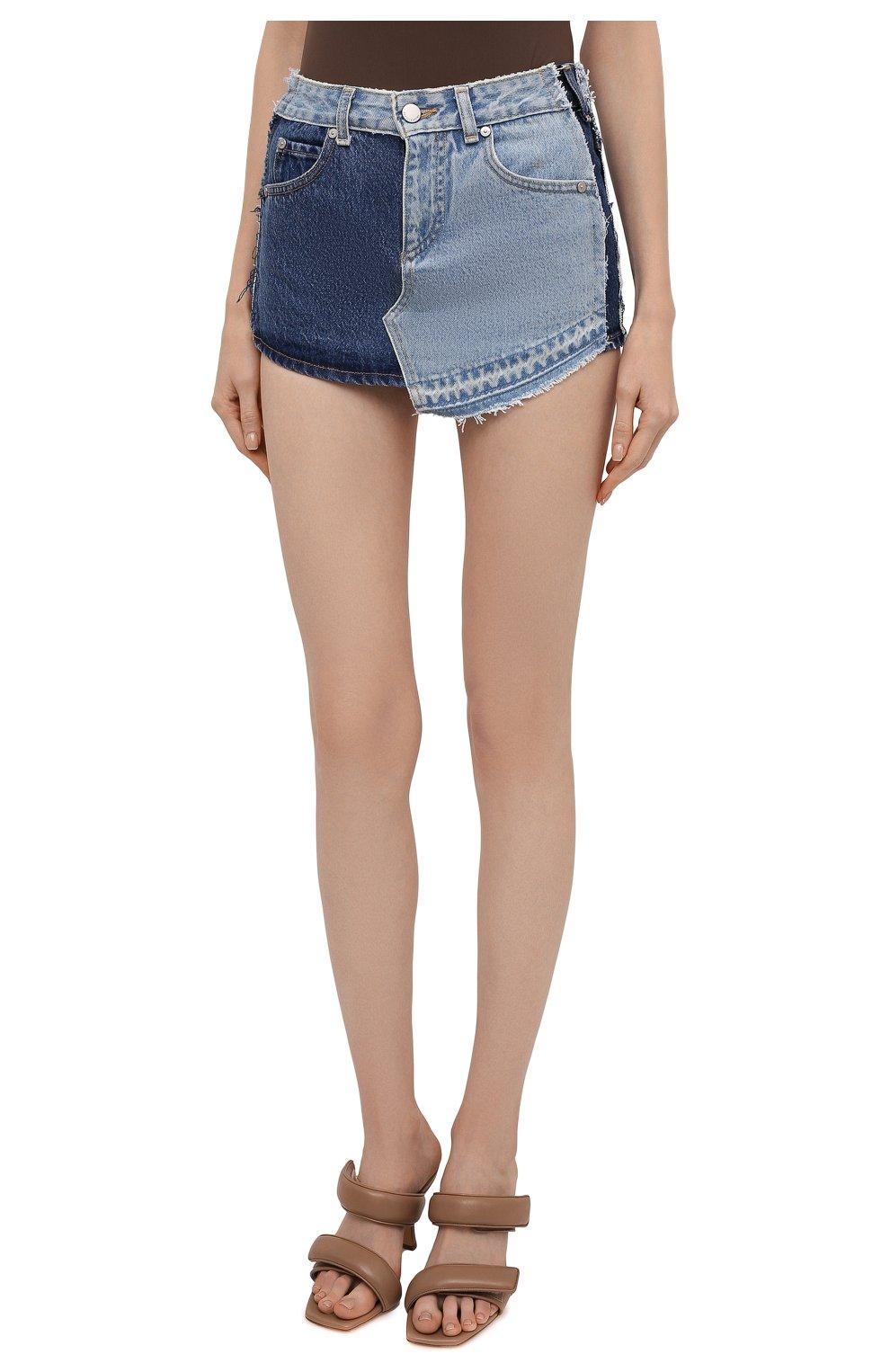 Женские джинсовые шорты REDVALENTINO синего цвета, арт. VR0DD04H/5TT   Фото 3 (Женское Кросс-КТ: Шорты-одежда; Кросс-КТ: Деним; Длина Ж (юбки, платья, шорты): Мини; Материал внешний: Хлопок; Стили: Спорт-шик)