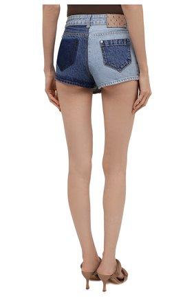 Женские джинсовые шорты REDVALENTINO синего цвета, арт. VR0DD04H/5TT   Фото 4 (Женское Кросс-КТ: Шорты-одежда; Кросс-КТ: Деним; Длина Ж (юбки, платья, шорты): Мини; Материал внешний: Хлопок; Стили: Спорт-шик)