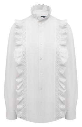 Женская хлопковая рубашка POLO RALPH LAUREN белого цвета, арт. 211838064 | Фото 1 (Рукава: Длинные; Материал внешний: Хлопок; Женское Кросс-КТ: Рубашка-одежда; Принт: Без принта; Стили: Романтичный; Длина (для топов): Удлиненные)