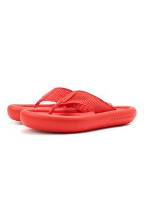 Женские комбинированные шлепанцы air STELLA MCCARTNEY красного цвета, арт. 800361/N0229 | Фото 1 (Материал внешний: Текстиль, Экокожа; Подошва: Платформа; Материал внутренний: Текстиль)