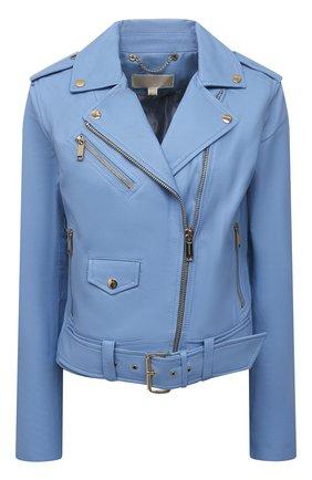 Женская кожаная куртка MICHAEL MICHAEL KORS голубого цвета, арт. MS12HYG8RK | Фото 1