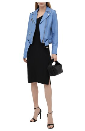 Женская кожаная куртка MICHAEL MICHAEL KORS голубого цвета, арт. MS12HYG8RK | Фото 2