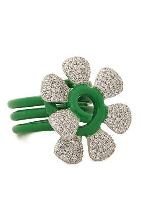 Женское кольцо BOTTEGA VENETA зеленого цвета, арт. 657263/VB0B8 | Фото 1
