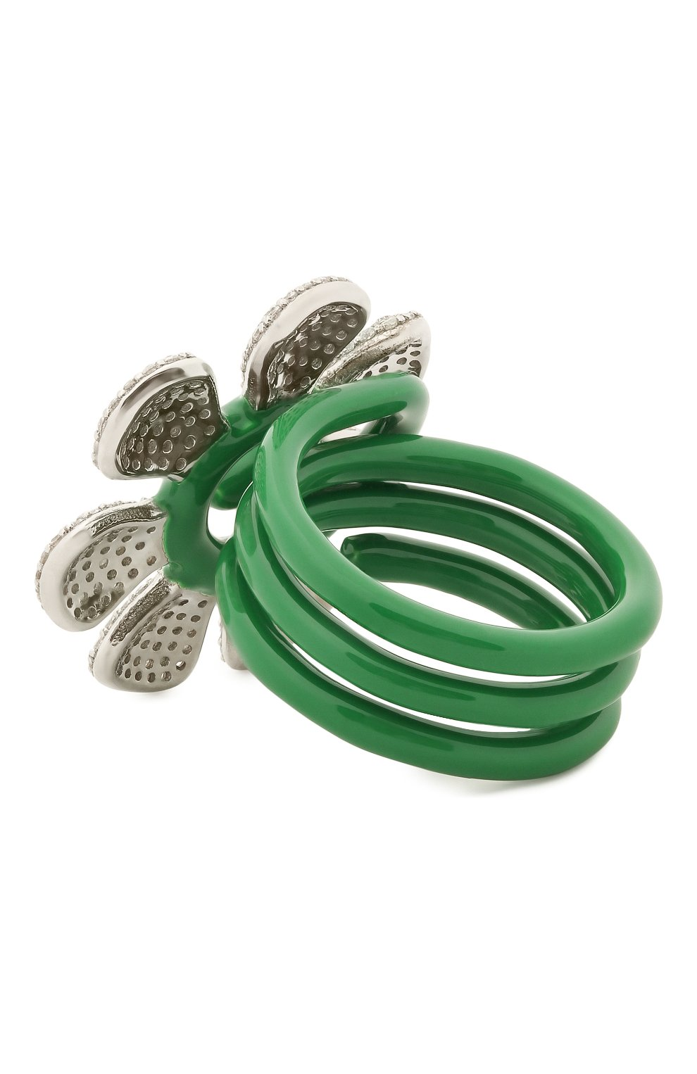 Женское кольцо BOTTEGA VENETA зеленого цвета, арт. 657263/VB0B8 | Фото 2