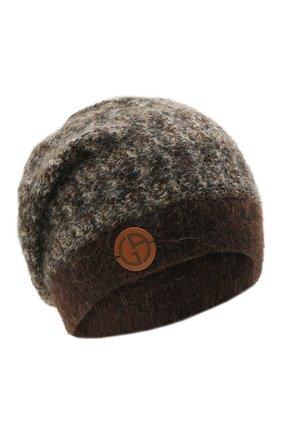 Женская шапка GIORGIO ARMANI коричневого цвета, арт. 797250/1A507 | Фото 1 (Материал: Синтетический материал, Шерсть, Текстиль)