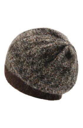 Женская шапка GIORGIO ARMANI коричневого цвета, арт. 797250/1A507 | Фото 2 (Материал: Синтетический материал, Шерсть, Текстиль)