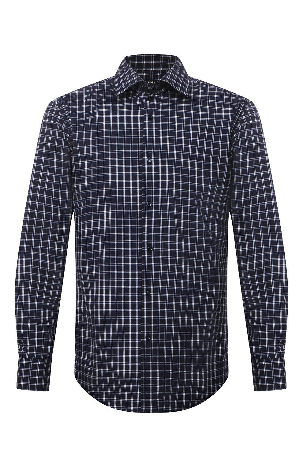 Мужская хлопковая сорочка BOSS темно-синего цвета, арт. 50453952   Фото 1