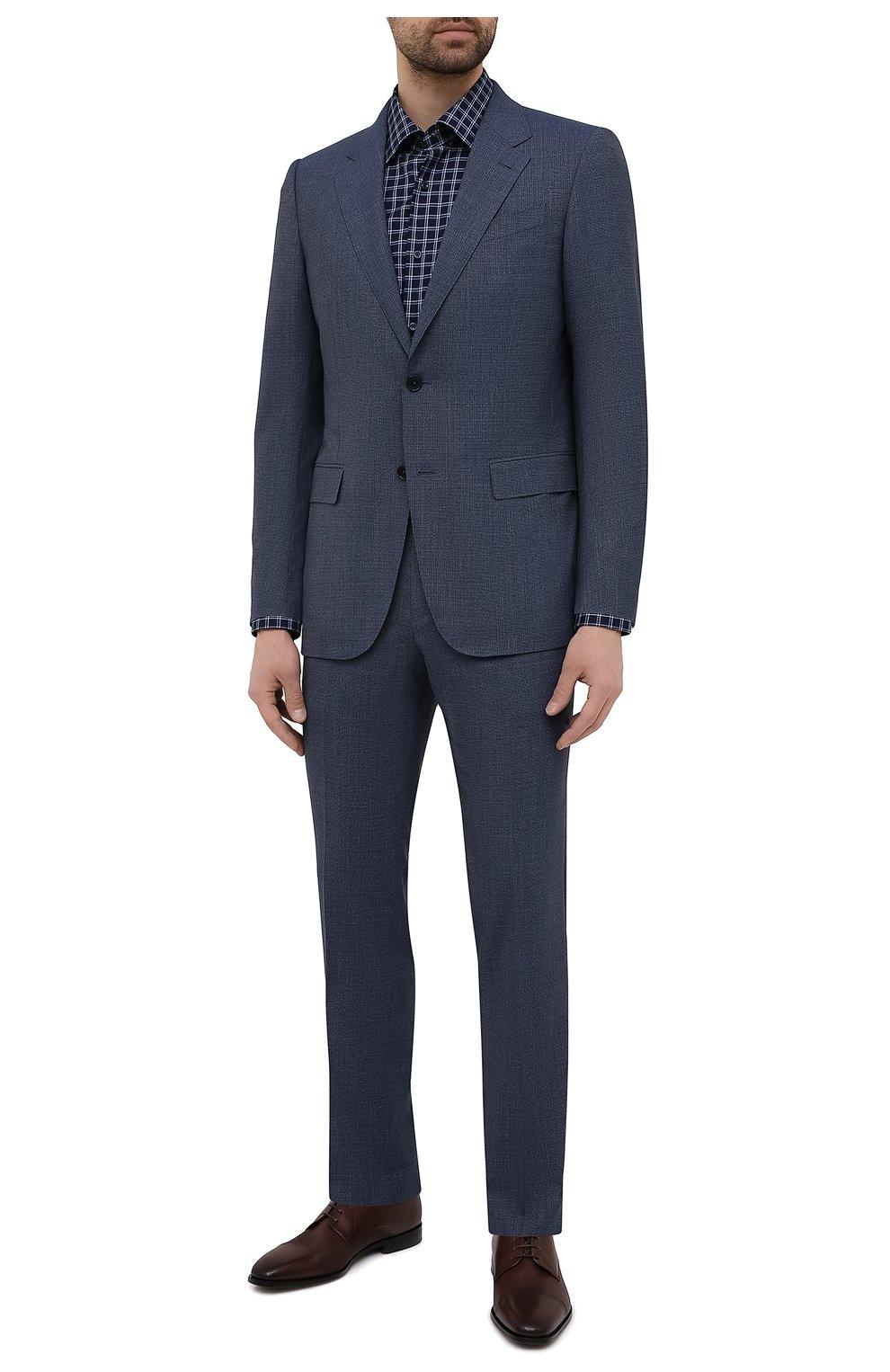 Мужская хлопковая сорочка BOSS темно-синего цвета, арт. 50453952   Фото 2