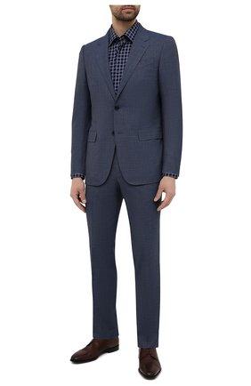 Мужская хлопковая сорочка BOSS темно-синего цвета, арт. 50453952 | Фото 2
