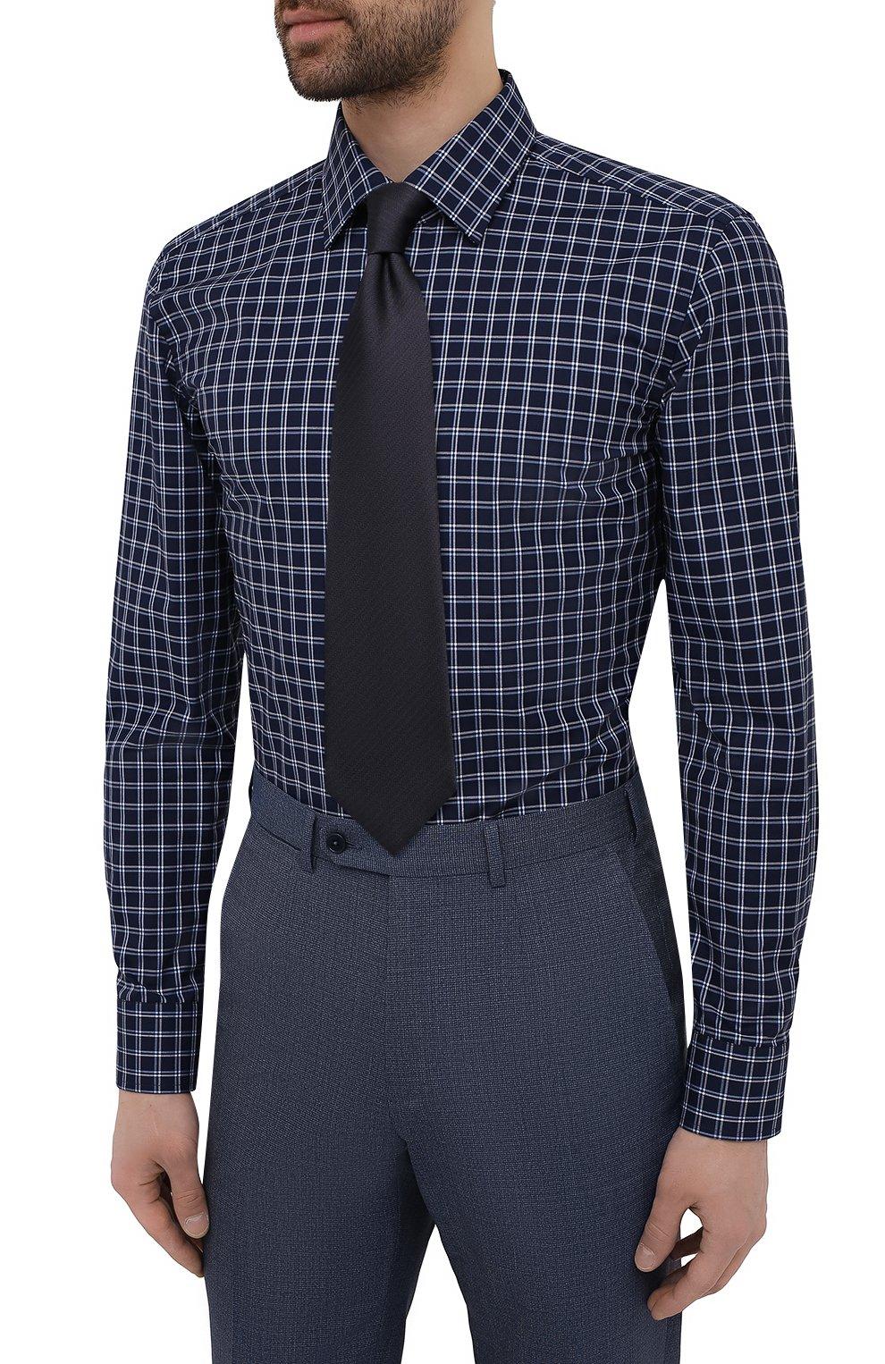 Мужская хлопковая сорочка BOSS темно-синего цвета, арт. 50453952   Фото 4