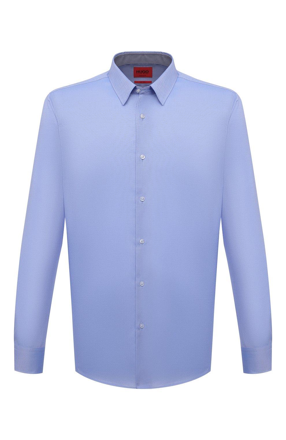 Мужская хлопковая сорочка HUGO голубого цвета, арт. 50453420 | Фото 1