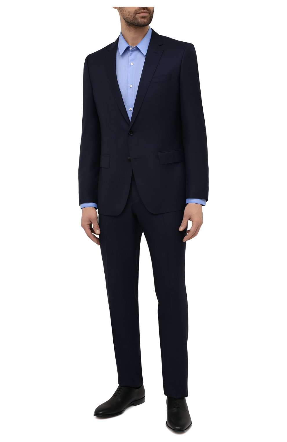 Мужская хлопковая сорочка HUGO голубого цвета, арт. 50453420 | Фото 2