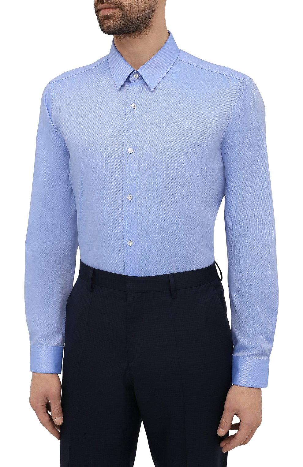 Мужская хлопковая сорочка HUGO голубого цвета, арт. 50453420 | Фото 3