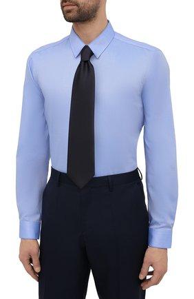 Мужская хлопковая сорочка HUGO голубого цвета, арт. 50453420 | Фото 4