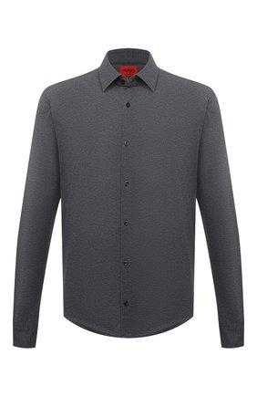 Мужская рубашка HUGO серого цвета, арт. 50450184   Фото 1 (Манжеты: На пуговицах; Случай: Повседневный; Стили: Кэжуэл; Воротник: Кент; Материал внешний: Синтетический материал; Принт: Однотонные; Длина (для топов): Стандартные; Рукава: Длинные)