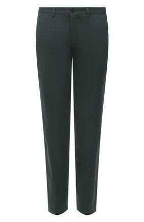 Мужские хлопковые брюки BOSS темно-зеленого цвета, арт. 50454408   Фото 1 (Материал внешний: Хлопок; Силуэт М (брюки): Чиносы; Стили: Кэжуэл; Случай: Повседневный; Длина (брюки, джинсы): Стандартные)