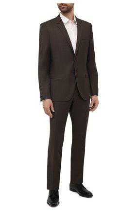 Мужской шерстяной костюм HUGO коричневого цвета, арт. 50457373 | Фото 1