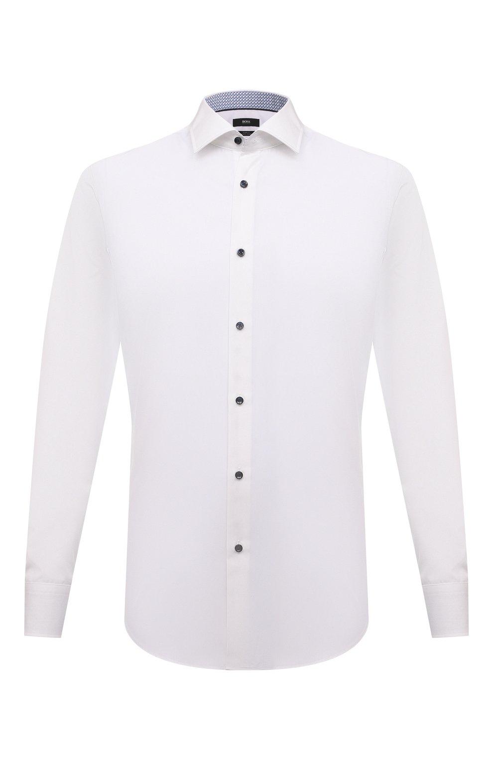 Мужская хлопковая сорочка BOSS белого цвета, арт. 50453912   Фото 1