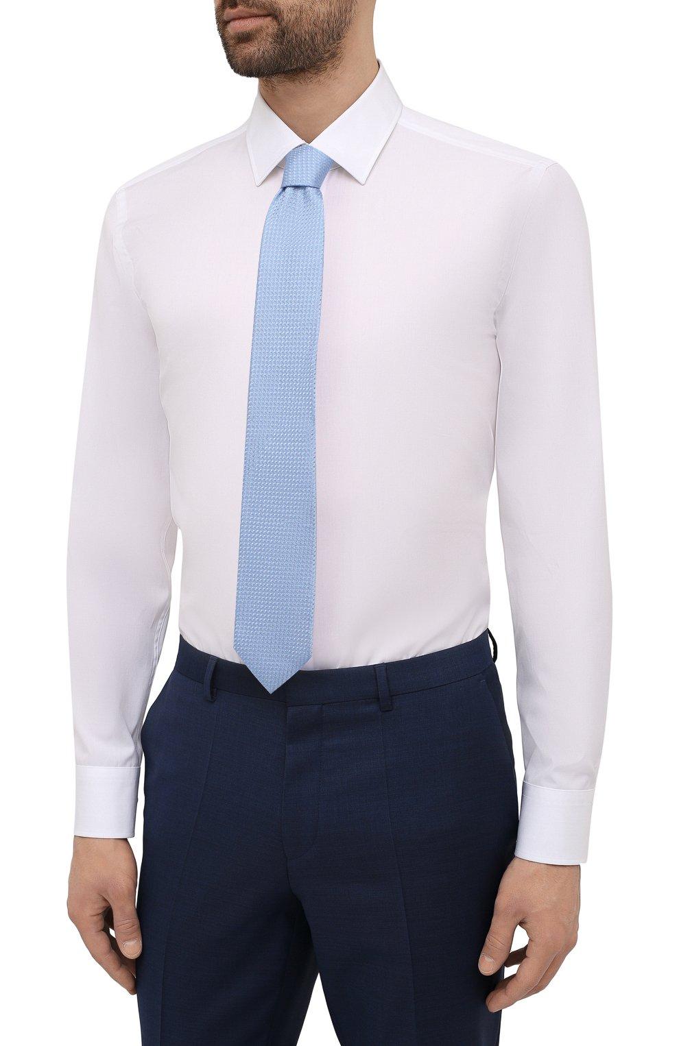 Мужская хлопковая сорочка BOSS белого цвета, арт. 50453912   Фото 4