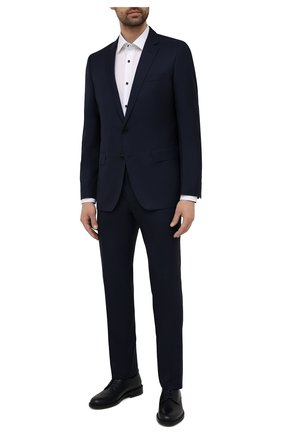 Мужской костюм из шерсти и шелка BOSS темно-синего цвета, арт. 50453680 | Фото 1