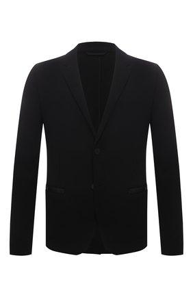 Мужской пиджак HUGO черного цвета, арт. 50453429 | Фото 1 (Длина (для топов): Стандартные; Стили: Кэжуэл; Пиджаки М: Приталенный; Случай: Повседневный; 1-2-бортные: Однобортные; Рукава: Длинные; Материал внешний: Синтетический материал)