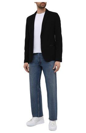 Мужской пиджак HUGO черного цвета, арт. 50453429 | Фото 2 (Длина (для топов): Стандартные; Стили: Кэжуэл; Пиджаки М: Приталенный; Случай: Повседневный; 1-2-бортные: Однобортные; Рукава: Длинные; Материал внешний: Синтетический материал)