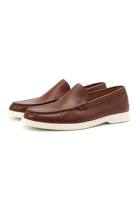 Мужские кожаные лоферы BOSS коричневого цвета, арт. 50454965 | Фото 1