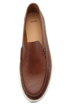 Мужские кожаные лоферы BOSS коричневого цвета, арт. 50454965   Фото 5