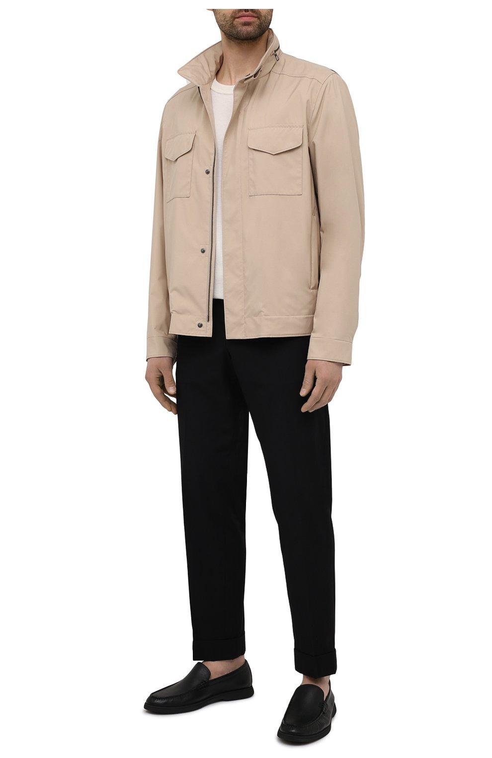 Мужские кожаные лоферы BOSS черного цвета, арт. 50454965   Фото 2