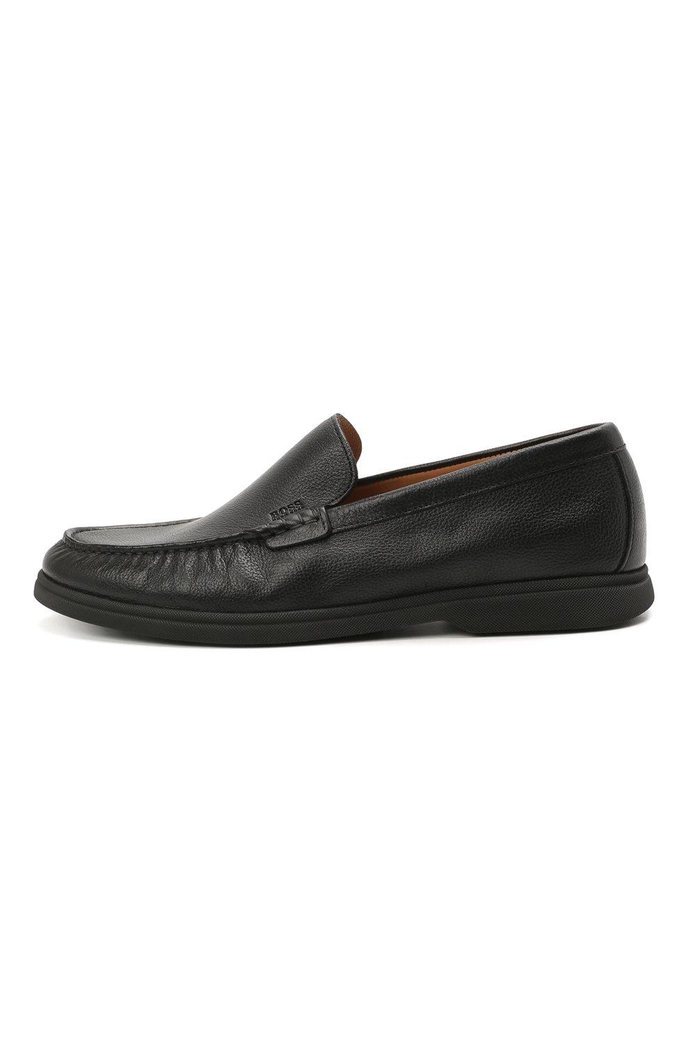 Мужские кожаные лоферы BOSS черного цвета, арт. 50454965   Фото 3