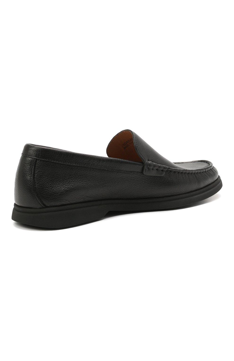 Мужские кожаные лоферы BOSS черного цвета, арт. 50454965   Фото 4