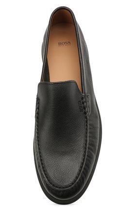 Мужские кожаные лоферы BOSS черного цвета, арт. 50454965   Фото 5