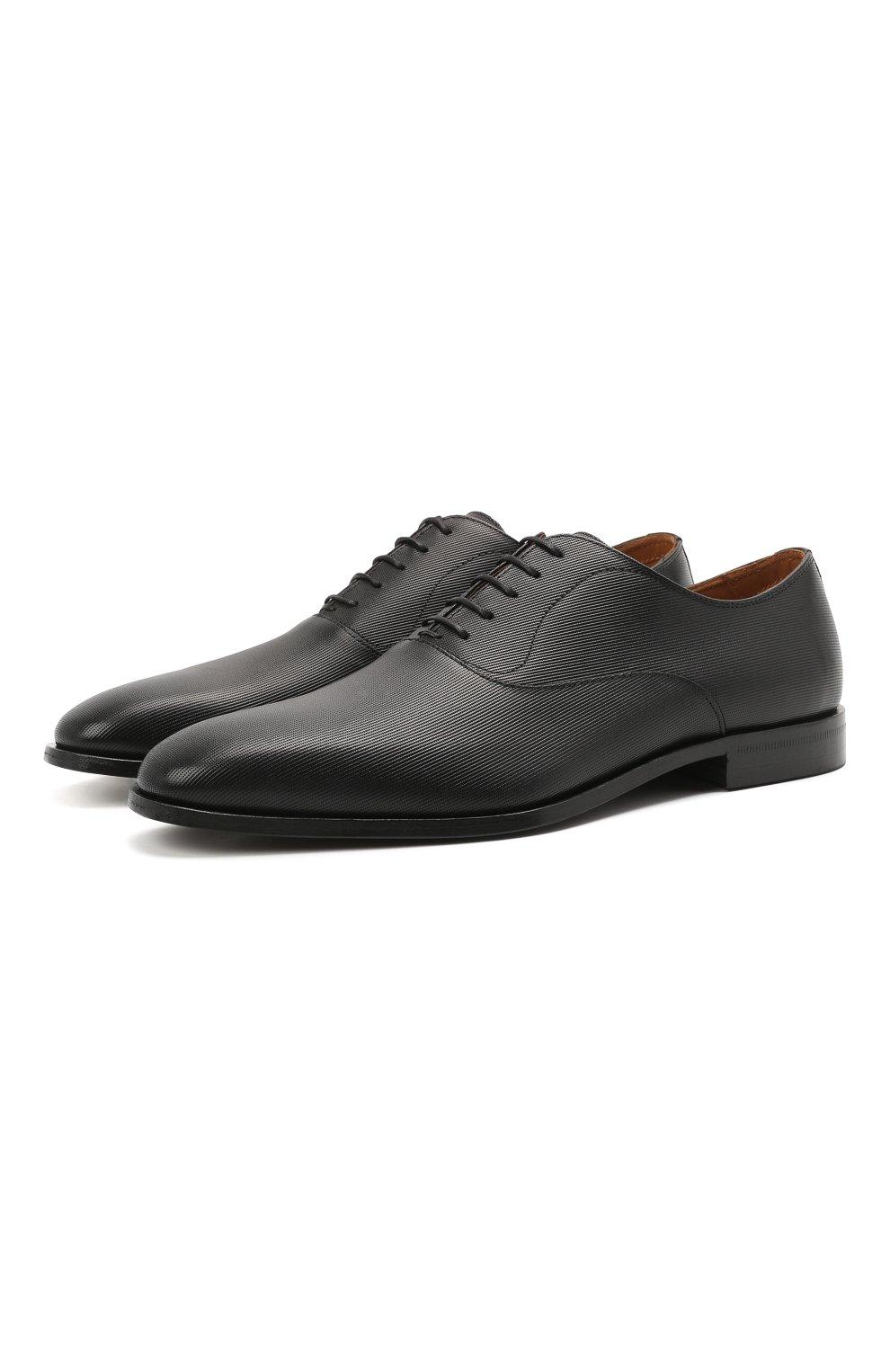 Мужские кожаные оксфорды BOSS черного цвета, арт. 50454993   Фото 1